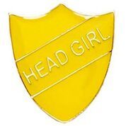 Yellow Shield Head Girl Badge
